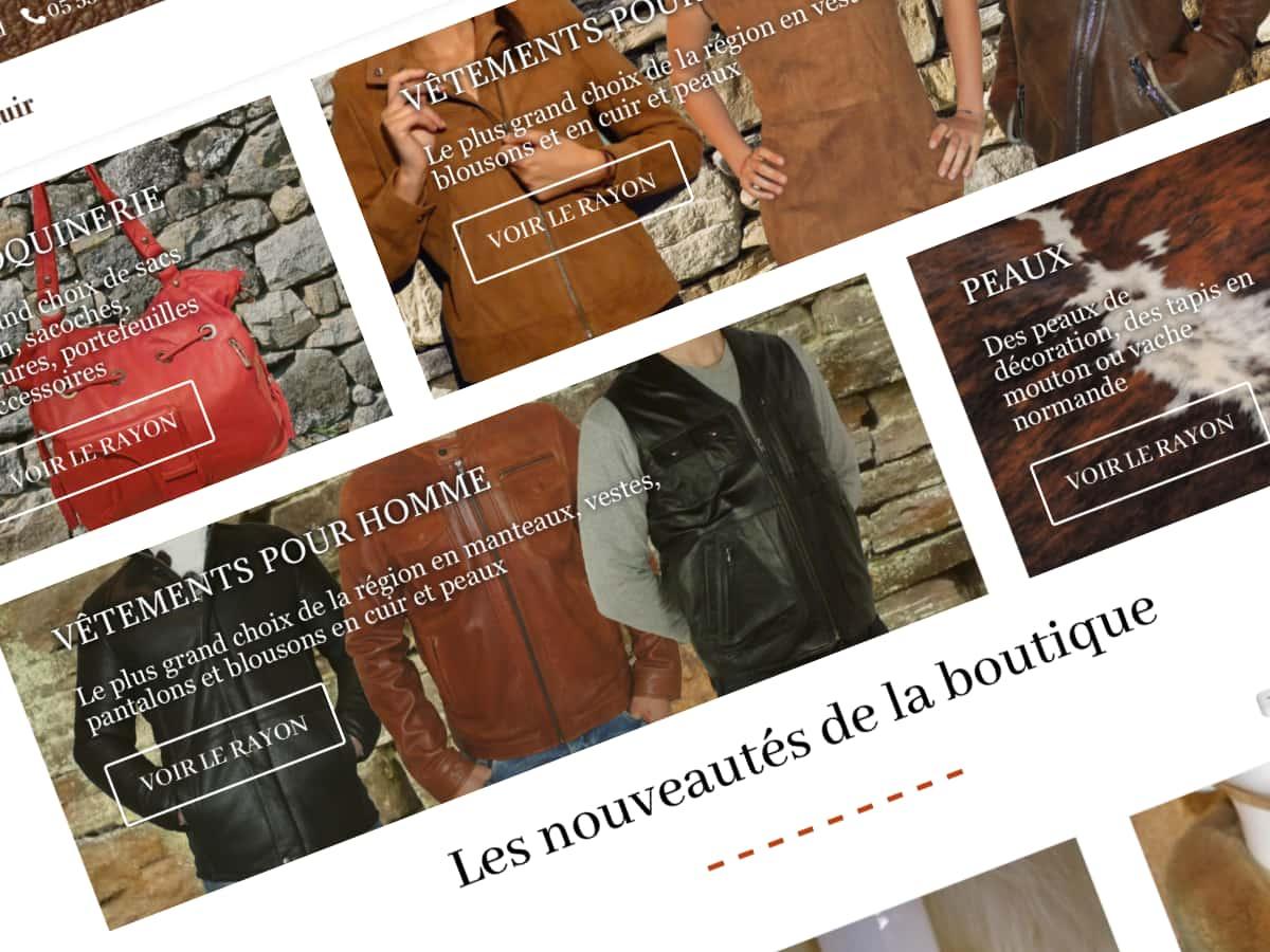 Boutique en ligne de vêtements en cuir